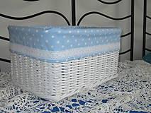 Košíky - Košík - Biely v modrobodkovanej košieľke - 9655931_