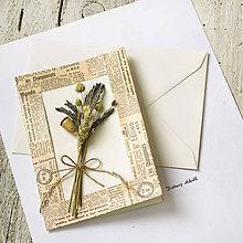 Papiernictvo - Pohľadnica Levanduľová kytička 3D - 9657850_