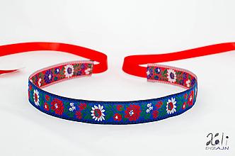 Opasky - Folk opasok 3,5 cm obojstranný (Modro-červený opasok) - 9656634_