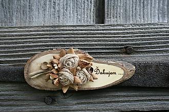 Magnetky - magnetka drevená-ďakujem10 - 9657739_