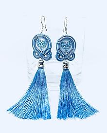 Náušnice - Folklórne strapcové náušnice FOLKI (Pastelová modrá) - 9655190_