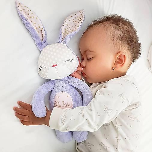 Hračky - Zajačik Lavender  (s výšivkou mena) - 9655516_