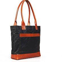 Veľké tašky - Čierna/ryšavá taška z kože a voskovaného plátna. - 9657352_