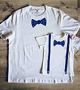 Set Maľované tričká pre tatina a syna na rodinné fotenie - 2 ks
