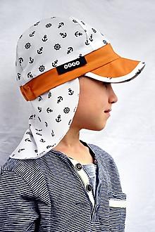Detské čiapky - Kotvičková šiltovka s plachtičkou proti slnku - 9655092_