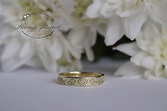 Prstene - Obrúčky s folklórnym vzorom (trenčiansky kraj žlté zlato) - 9655260_