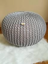 Úžitkový textil - Sivý pletený puf - 9655249_
