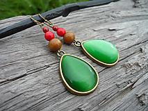- ZĽAVA - VÝPREDAJ :) Náušnice Zelené slzy lesa - 9659688_