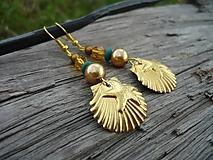 Náušnice - ZĽAVA - VÝPREDAJ :) Náušnice Zlaté mušle - 9661047_