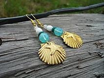 Náušnice - ZĽAVA - VÝPREDAJ :) Náušnice Zlaté mušle v tyrkysovom mori - 9661049_