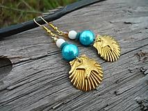 Náušnice - ZĽAVA - VÝPREDAJ :) Náušnice Zlaté mušle v tyrkysovom mori - 9661057_