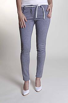 Nohavice - Dámske nohavice sivé so šnúrkou - 9658189_