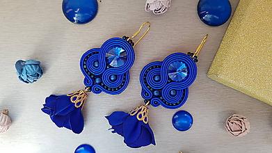 Náušnice - Štebotavé lupene (kráľovsky modré) - 9660051_