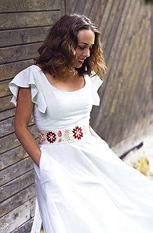Šaty - Ľanové šaty s vyšívaným opaskom - 9658053_
