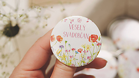 - Svadobný odznak, svadobná brošňa, button (Magnetka 44mm - personalizovaná) - 9659883_