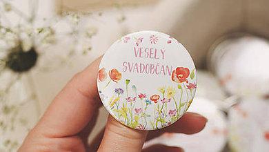Darčeky pre svadobčanov - Svadobný odznak, svadobná brošňa, button - 9659883_