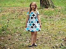 Detské oblečenie - Šaty s krátkym rukávom krížiky tyrkysové - 9658713_