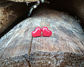 Náušnice - Srdiečka 10 mm (červené) - 9660029_
