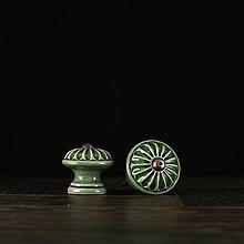 Nábytok - Úchytka - knopka zelená - vzor č. 4 malá - 9657977_