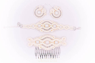 Sady šperkov - Svadobný šujtášový set - 9659949_