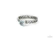 Prstene - 925 Strieborný prsteň s prírodným modrým topásom - 9662631_