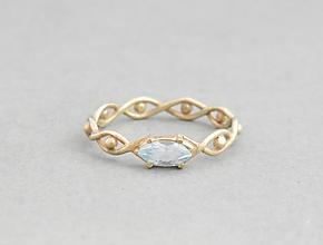 Prstene - 14k zlatý prsteň s modrým topásom - 9662498_