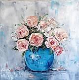 Obrazy - Ruže v modrej váze_predané - 9662105_