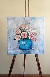 Obrazy - Ruže v modrej váze_predané - 9662106_