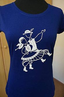 Tričká - Tričko folklórne: Tanečníci- dámske modré II 3D - 9662271_