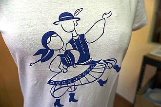 Tričká - Tričko folklórne: Tanečníci- detské biele II 3D - 9662359_