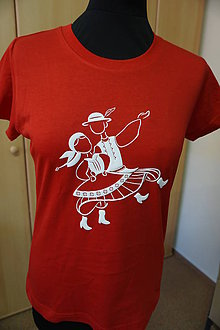 Tričká - Tričko folklórne: Tanečníci- dámske červené II 3D - 9662370_