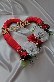 Dekorácie - Svadobné srdce na dvere červené - 9662389_