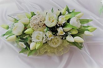 Kytice pre nevestu - Svadobná ikebana na hlavný stôl jablková - 9662491_