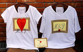 Tričká - partnerské tričká maľované: SVADOBNÉ OZNAMKO - 9661125_