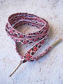 Obuv - Šnúrky do topánok - folklórne červeno-biele III. - 9661875_