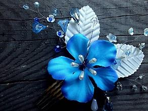 Ozdoby do vlasov - hrebienok - modrý kvet - 9662572_