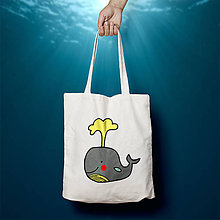 Nákupné tašky - Veľryba (bavlnená taška) - 9661105_