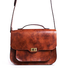 Kabelky - Hneda kožená kabelka cez rameno. Dámska kabelka - 9662367_