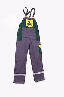 Detské oblečenie - Detské montérky sivé Traktor - 9662419_