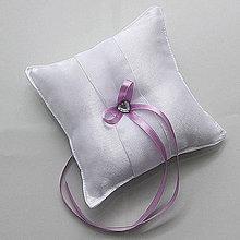 Prstene - Biely saténový vankúšik s mašličkou podľa želania (Tyrkysová) - 9661263_