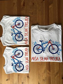 Oblečenie - Otcosynovské maľované tričká s motívom bicykla (Silná trojka (pánske + 2 detské )) - 9661290_