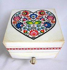 Krabičky - Komodka folk s keramickou úchytkou - 9664521_