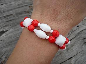 Náramky - ZĽAVA - VÝPREDAJ :) Náramok Námorníčka...červená a biela - 9666173_