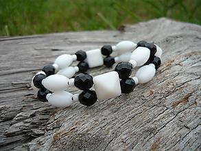 Náramky - ZĽAVA - VÝPREDAJ :) Náramok Námorníčka...bielo-čierny - 9666178_