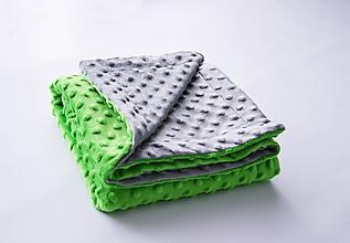 Textil - Minky grey/lime deka 100*70cm - 9663197_