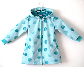 Detské oblečenie - Softshellový kabátik mentolové bodky na mentolové - 9666121_
