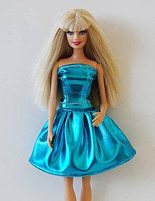 Hračky - Modrá lesklá sukňa pre Barbie - 9664649_