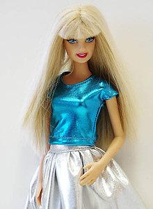 Hračky - Modré lesklé tričko pre Barbie - 9664676_