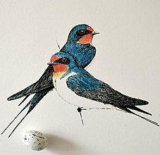 Kresby - Lastovičky vo farbách - 9664661_