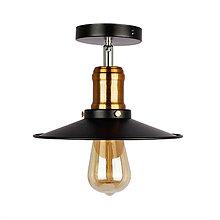 Svietidlá a sviečky - Stropné svietidlo retro s čiernym plytkým tienidlom - 9664479_